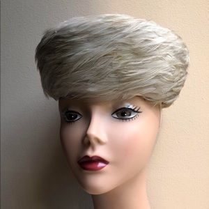 """Vintage Gray Real Feather Pillbox Hat 7.5"""" x 6.5"""""""